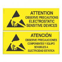Desco Attention Sign, English-Spanish, 102mm x 254mm
