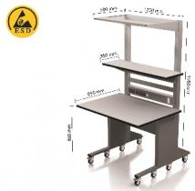 Static safe Desk Mobile 850 x 1200 on wheels