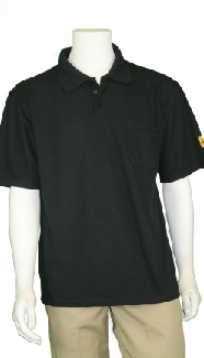 Techwear Esd Polo Shirt, Black, Short Sleeve, Lge